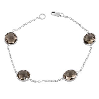 Fremada Sterling Silver Round Smokey Quartz Station Bracelet (7.5 inches)