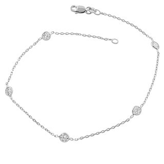 Fremada Sterling Silver Round Cubic Zirconia Station Anklet (9 inches)