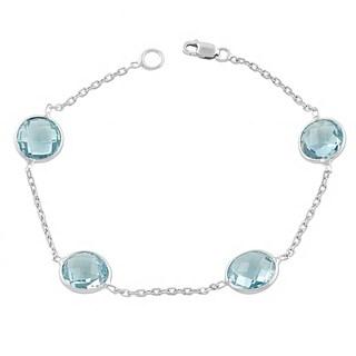 Fremada Sterling Silver Round Blue Topaz Station Bracelet (7.5 inch)