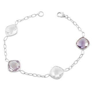 Fremada Sterling Silver Cushion Pink Amethyst and Clear Quartz Bracelet (7.5 inch)