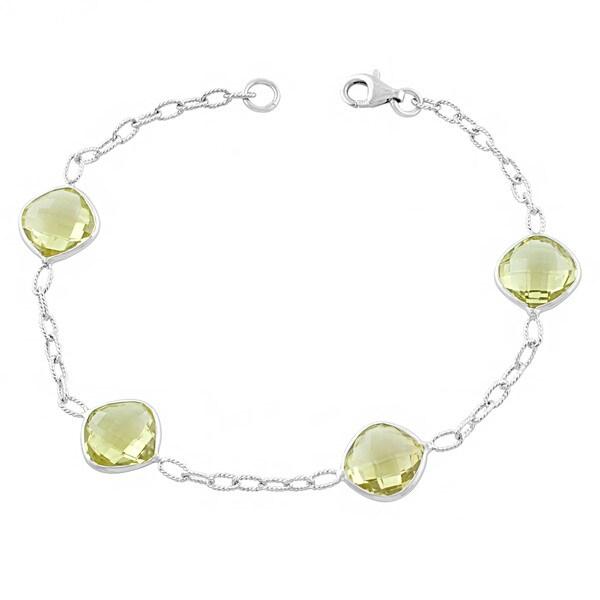 Fremada Sterling Silver Cushion Lemon Quartz Bracelet (7.5 inches)