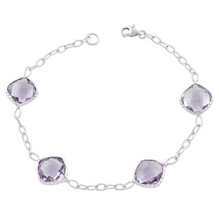 Fremada Sterling Silver Cushion Pink Amethyst Bracelet (7.5 inches)