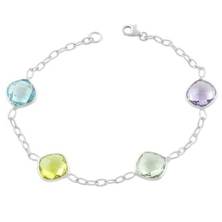 Fremada Sterling Silver Cushion Multiple Gemstone Bracelet (7.5 inch)