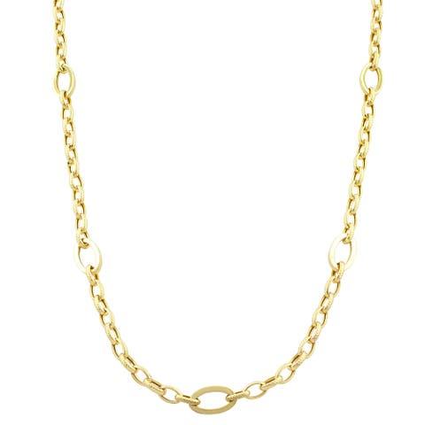 Fremada 14k Yellow Gold Polished Oval Station Necklace (32 inch)