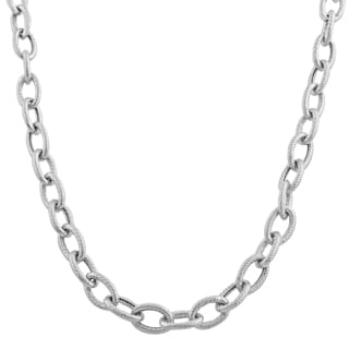 Fremada 14k White Gold 5-mm Textured Rolo Necklace (18 inch)