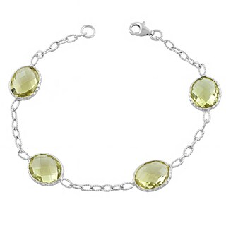 Fremada Sterling Silver Oval Lemon Quartz Gemstone Bracelet (7.5 inch)