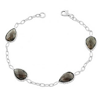 Fremada Sterling Silver Pear-shaped Smokey Quartz Bracelet (7.5 inch)