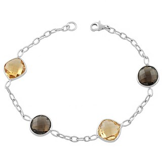 Fremada Sterling Silver Alternate Cushion Citrine and Round Smokey Quartz Bracelet (7.5 inch)