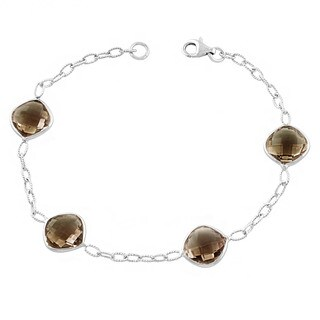 Fremada Sterling Silver Cushion Smokey Quartz Bracelet (7.5 inches)