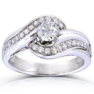 Annello by Kobelli 14k White Gold 5/8ct TDW Curved Diamond Ring