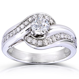 annello by kobelli 14k white gold 58ct tdw curved diamond ring - Affordable Diamond Wedding Rings