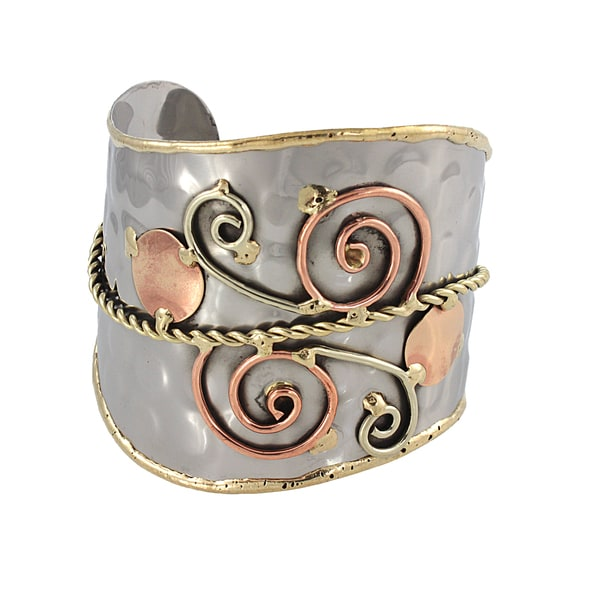 Handmade Swirls and Copper Dots Stainless Steel Mixed Metals Cuff Bracelet (India). Opens flyout.
