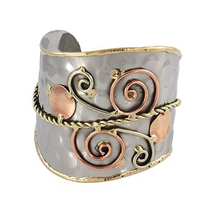 Handmade Swirls and Copper Dots Stainless Steel Mixed Metals Cuff Bracelet (India)