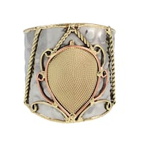 Handmade Brass and Copper Paisley Mixed Metals Cuff Bracelet (India)