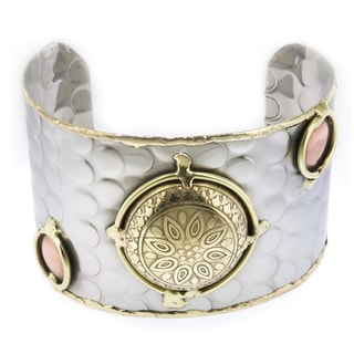 Handcrafted Round Medallion Stainless Steel Mixed Metals Cuff Bracelet (India)