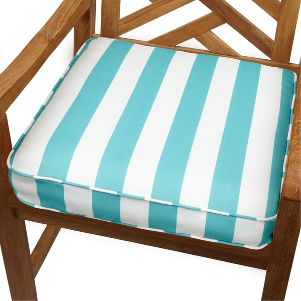 Aqua stripes 19 inch indoor outdoor corded chair cushion for Home goods patio furniture cushions