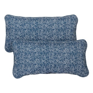 Navy Herringbone Corded 12 x 24 Inch Indoor/ Outdoor Lumbar Pillows (Set of 2)