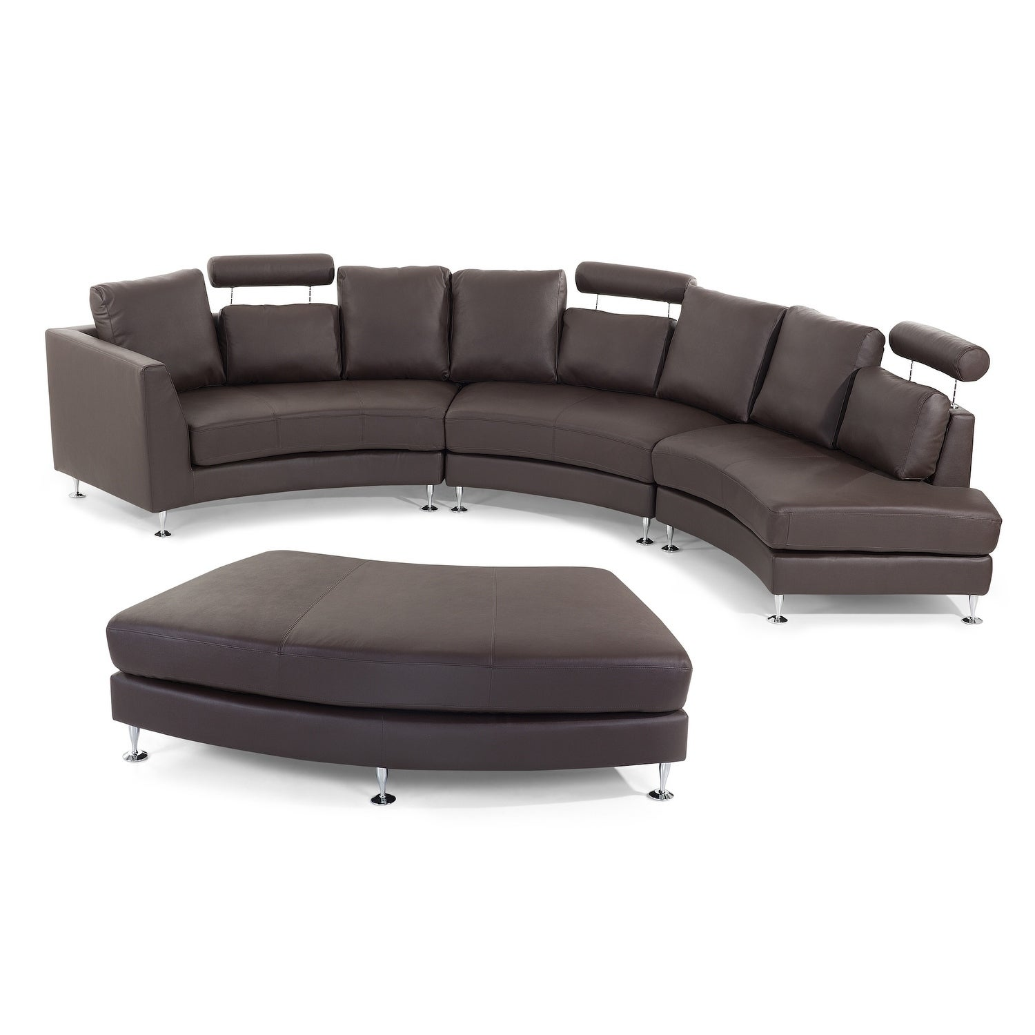 Velago Rossini Brown Modern Circular Sectional Sofa Dc