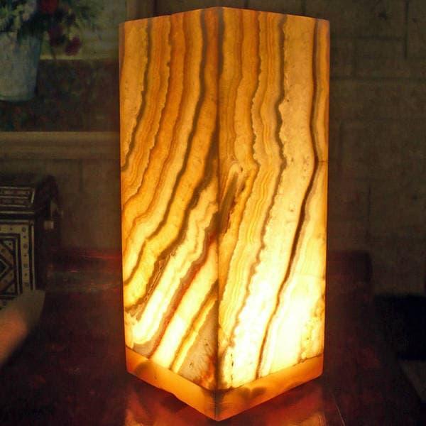 Natural Alabaster Karnak Lamp , Handmade in Egypt