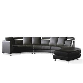 Genial Modern Black Leather Circular Sofa   ROSSINI