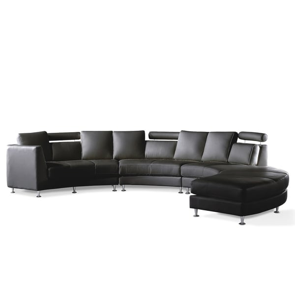Modern Black Leather Circular Sofa - ROSSINI