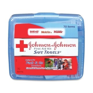 Johnson & Johnson Red Cross Plastic 70-piece Portable Travel First Aid Kit