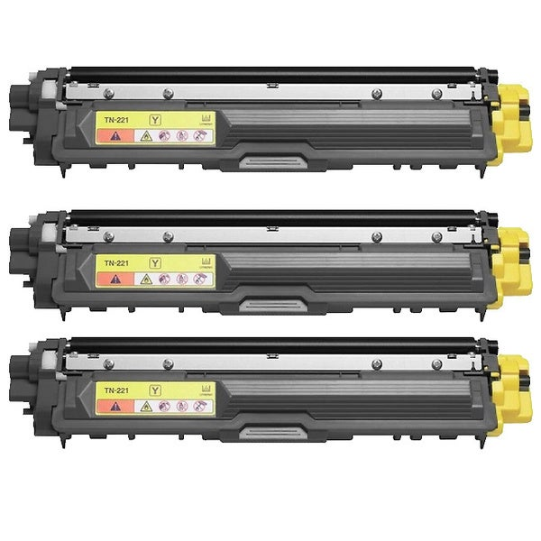 Brother TN221Y Remanufactured Compatible Yellow Toner Cartridges (Pack of 3)