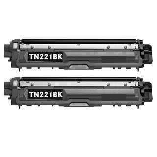Brother TN221BK Remanufactured Compatible Black Toner Cartridge (Pack of 2)