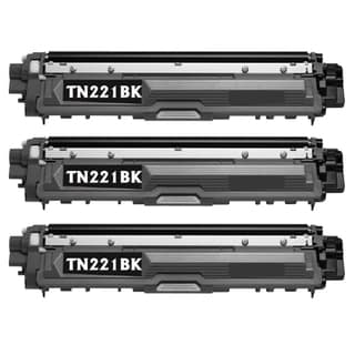 Brother TN221BK Remanufactured Compatible Black Toner Cartridges (Pack of 3)