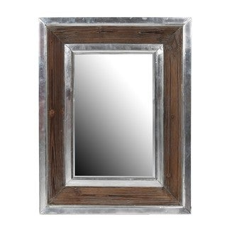 Privilege Aluminum/ Wood Rectangle Mirror