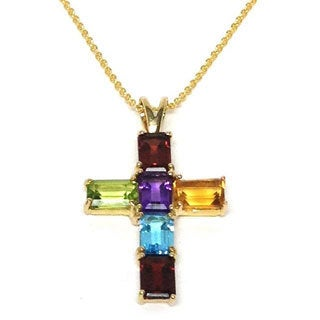 Neda Behnam Soho Boutique 14k Yellow Gold Multi-gemstone Cross Pendant Necklace