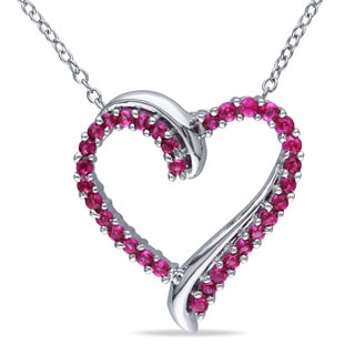 Miadora Sterling Silver Created Ruby Heart Necklace