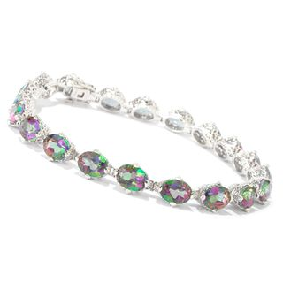 Platinum over Sterling Silver 23 4/5ct TGW Mystic Topaz Tennis Bracelet
