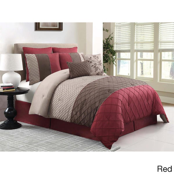 Covington 8 Piece Queen Comforter Set In Red Grey