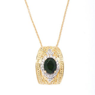 18k Yellow Vermeil Gold Over Sterling Silver Chrome Diopside and White Zircon Pendant Necklace