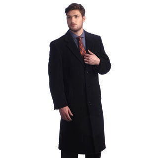 Men's 'Howard' Charcoal Peak Lapel Overcoat