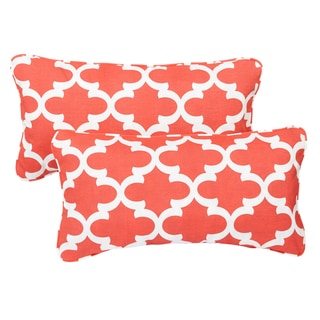Scalloped Coral Corded 12 x 24 Inch Indoor/ Outdoor Lumbar Pillows (Set of 2)