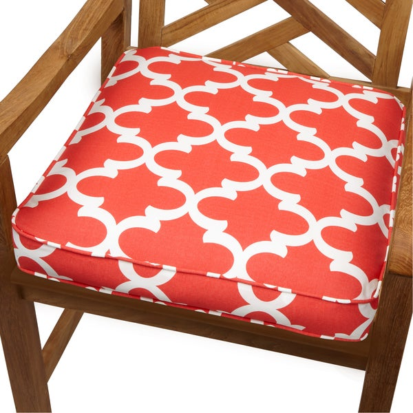 Scalloped Coral 20 Inch Indoor Outdoor Corded Chair Cushion Free Shipping