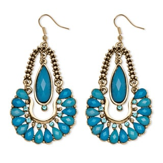 PalmBeach Aqua Crystal Chandelier Earrings in Yellow Gold Tone Bold Fashion