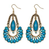 Aqua Crystal Chandelier Earrings in Yellow Gold Tone Bold Fashion