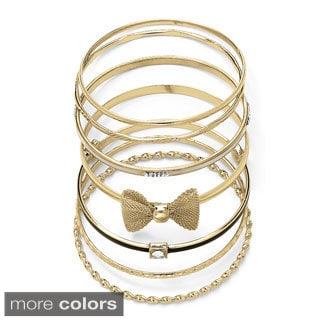 PalmBeach Enamel and Crystal 7-Piece Bangle Bracelet Set in Yellow Gold Tone Color Fun
