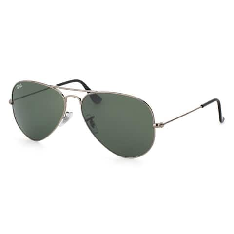 Ray-Ban Aviator RB3025 Unisex Gunmetal Frame Green Classic Lens Sunglasses - Grey