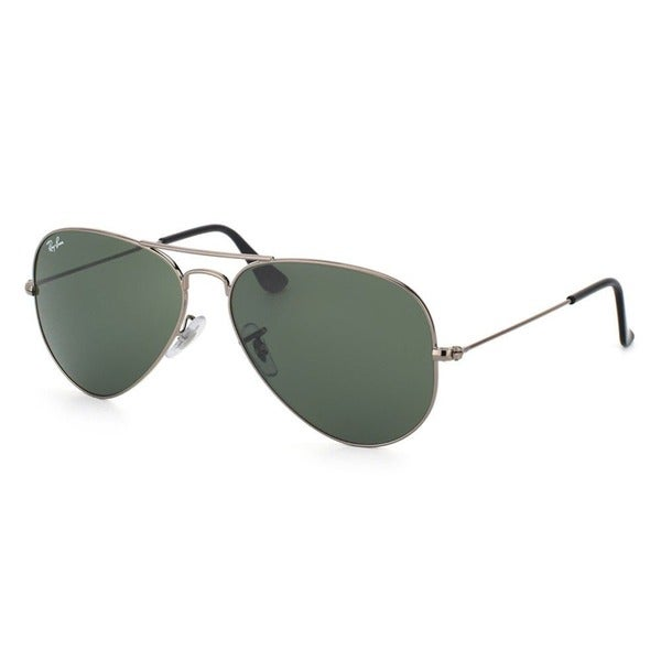 Ray-Ban Aviator RB3025 Unisex Gunmetal Frame Green Lens Sunglasses - Grey. Opens flyout.