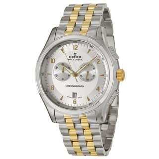 Edox Men's 'WRC Classic Chrono' Stainless Steel Yellow-Gold Chronograph Watch