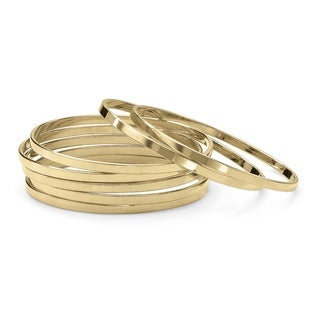 Set of 7 Bangle Bracelets in Yellow Gold Tone Tailored