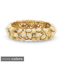 Black or Ecru Cabochon and Crystal Bracelet in Yellow Gold Tone Bold Fashion
