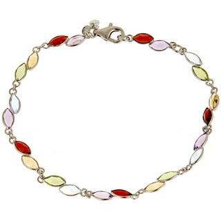 Sterling Silver 1 1/4ct TGW Multi-colored Semi Precious Genuine Gemstone Bracelet