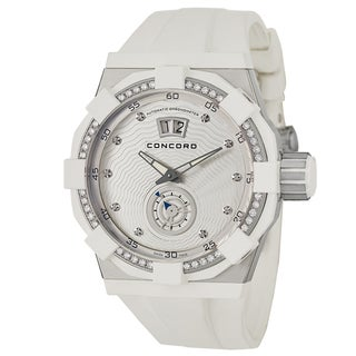 Concord Men's 'C1 Big Date' Diamond Accent Stainless Steel Rubber Chronometer Watch