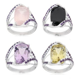 Sterling Silver Multi-gemstone and Amethyst Fashion Ring (More options available)