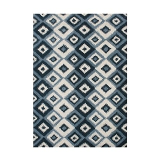 Alliyah Rugs Handmade Ikat Orion Blue New Zealand Blend Wool Rug (9' x 12')